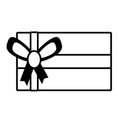 Gift box festivity party ribbon outline vector