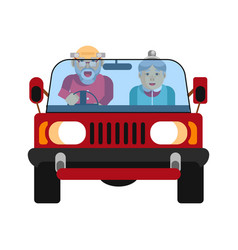 Grandparents driving on jeep car isolated on white vector