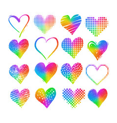 grunge rainbow colored hearts vector image vector image