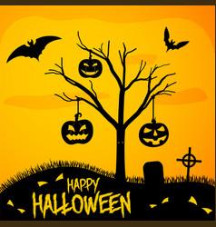 happy halloween poster - graveyard with punpkins vector image