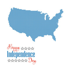 happy independence day card dotted map united vector image