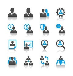 Human resource management icons reflection vector