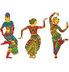Indian dancers in the style of mehendi vector
