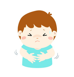 little boy having stomach ache cartoon vector image
