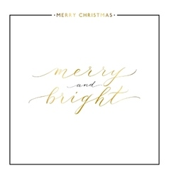 Merry and bright gold text isolated on white vector image