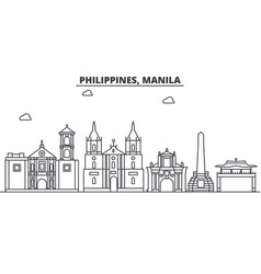 Philippines manila architecture line skyline vector
