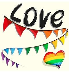 Rainbow flag and heart vector
