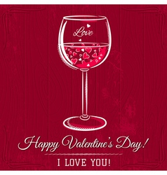 Red valentine card with glass of wine vector