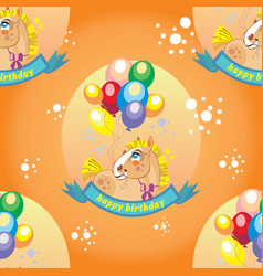 Seamless pattern with pony and balloons vector