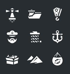 set of sea port icons vector image vector image