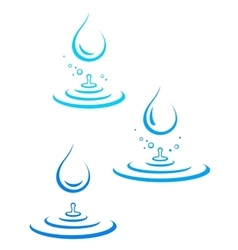 set of water drop icons and splash vector image