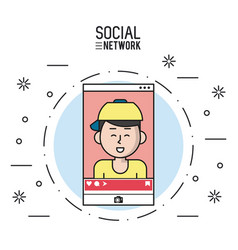 social network on smartphone vector image vector image