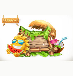 summer wooden banner summertime party 3d vector image vector image