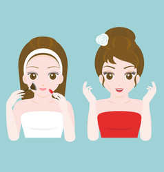 woman before and after make up vector image vector image