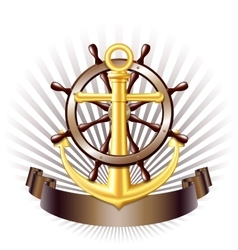Nautical emblem with golden anchor vector