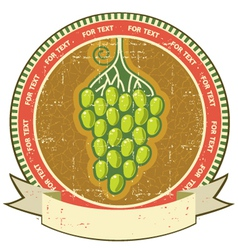 Grapes label with scroll for text on old grunge vector