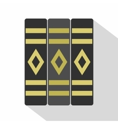 Three literary books icon flat style vector