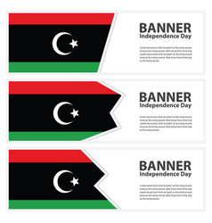Libya flag banners collection independence day vector