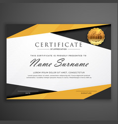 Yellow and black geometric certificate award vector