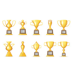 Prize victory award realistic 3d symbol trophy cup vector