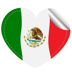 Flag of mexico in heart shape vector