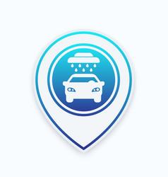Car wash sign icon on mark vector