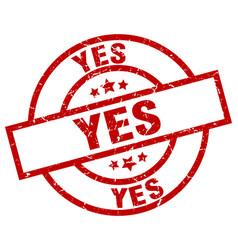 Yes round red grunge stamp vector