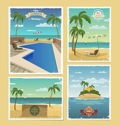 Summer retro backgrounds vector