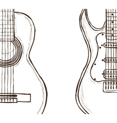 Acoustic and electric guitar vector image