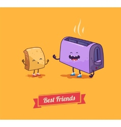 Best friends cartoon breakfast vector