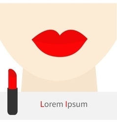 Woman face with big thick red lips and neck vector