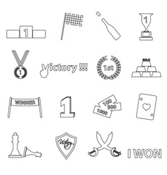Flawless victory symbols set of outline icons vector