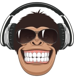 Funny monkey with glasses vector