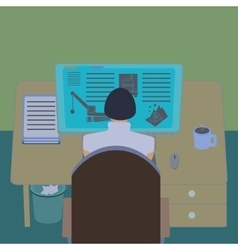 Female office worker at her computer desk working vector