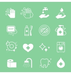 Hygiene and cleaning icons set hand wash soap vector
