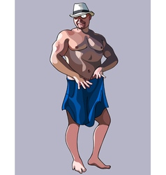 Cartoon stripteaser man in a hat and shorts vector