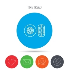 Tire tread icon Car wheel sign vector image