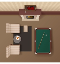 Billiard lounge top view realistic image vector