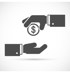 Hand giving penny vector image