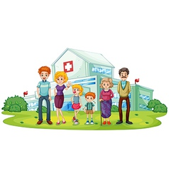 A big family near the hospital vector image vector image