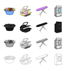 a bowl with laundry ironing machine washing vector image vector image