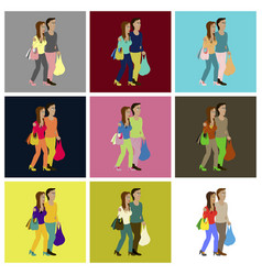 assembly flat icons guy and girl with shopping vector image vector image