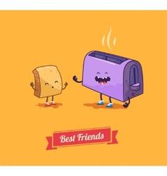 Best friends cartoon breakfast vector