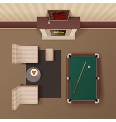 Billiard lounge top view realistic image vector