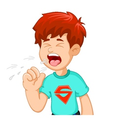 boy cartoon coughing for you design vector image