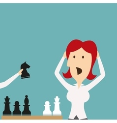 Business defeat woman shocked defeated in chess vector