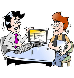 Cartoon of a young man looking at finance vector