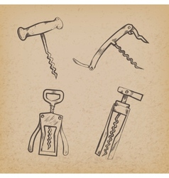 Collection of retro corkscrews vector image