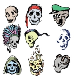 Colorful hand-painted skull vector