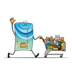 Credit card with shopping cart vector image vector image